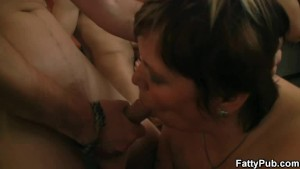 Group oral and bbw sex in the pub