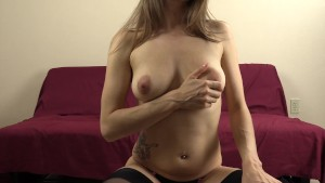 I wear lingerie and stockings while talking dirty to your cock