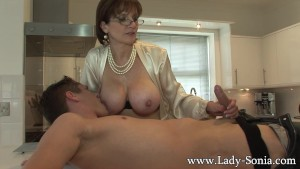 Lady Sonia gives young worker blowjob facial cumshot