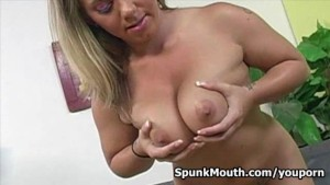 Allie Foster loves her tits fucked hard for a creamy cum facial