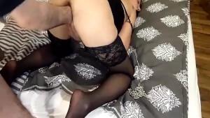 Fisting his hot girlfriend in bondage