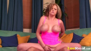 Short-haired Katie Kox has juicy bouncing knockers
