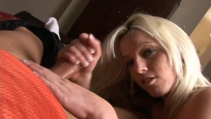 Sexy amateur blonde jerking dick 2