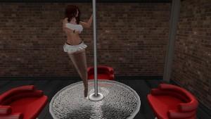 Une femme virtuelle en mini jupe blanche et bas collant noire entrain de danser