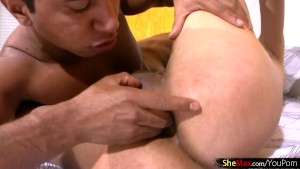 Beautiful ladyboy sucks in 69 and rides dick with bulky ass