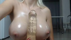Hooters girl fucking her bimbo tits with dildos