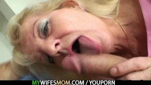 Old blonde bitch rides big cock