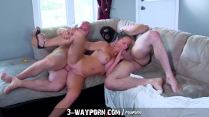 3-Way Porn - Busty Housewife Gets Fucked and DPed by Husband s Brothers in Amateur Threesome