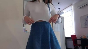 Babygirl step daughter teasing daddy with her short skirt