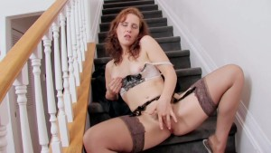 Helena masturbating in stockings and lingerie