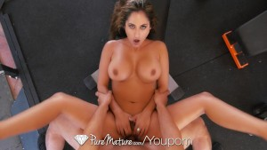 PureMature - Milf Reena Sky gags on big dick