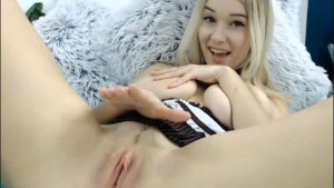 Cute Blonde Housemaid Playing with Her Pussy