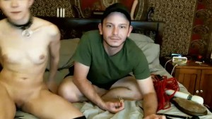 Short hair submissive slave getting dominated on cam