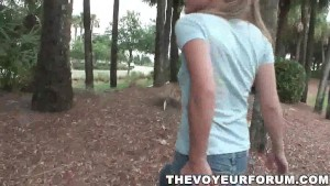 Petite blonde teen flashes her tits and pussy outdoors