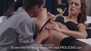 FROLICME.com - Beautiful brunette gets her pussy pleased