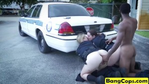 Milf cops sharing big black schlong doggy suck