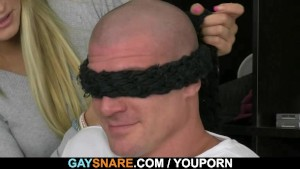 Bald hunk getting snared and doggystyled