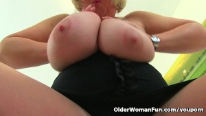 British milf Melons Marie works her huge tits and pussy