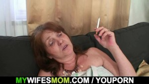 Horny son-in-law bangs busty granny after shower