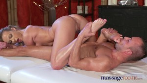 Massage Rooms Horny blonde nymph gives young stud footjob he won't forget