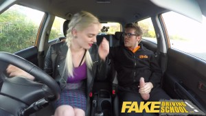 Fake Driving School student with big tits and hairy pussy has creampie