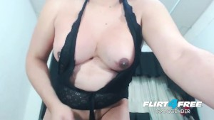 Thick Tranny Jerks Hard and Plays with Cum