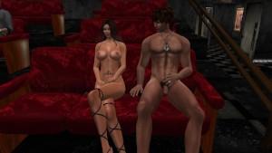 Deux couples nu et sexy dans un cinéma virtuelsexe.fr