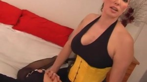 Femdom wanks TGirls big cock and strapon fucks her sexy ass before she explodes on Milfs big tits