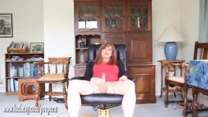 Horny tranny slut Luci May masturbates with powerful vibrator toy and wanks big cock