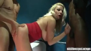 Smoking blonde slut caught masturbating in club is spit roasted in threesome toilet fuck