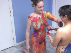 really cool body painting by two hot girls