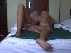 Brunette gets messy facial treatment