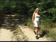 Girl goes for a walk and a pee