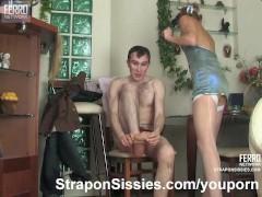 Sensual feminization and strapon sex