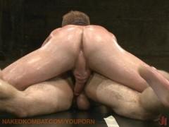 Oil wrestling bad boys in jock straps