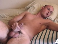 He beats his meat while looking at dick in butt