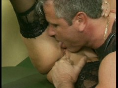Pleather gal gets creamed on her pussy