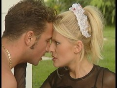 double shot of euro fucking - guy bangs huge tits, other guy screws maid
