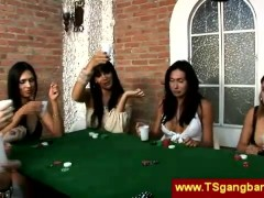 Shemale poker players seduce croupier