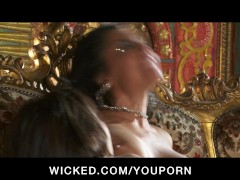 THREESOME YOUNG BRUNETTE LATINA ORGY WITH TOYS