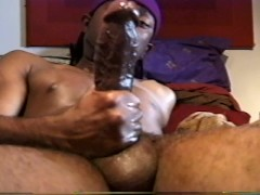 Shockingly big black dick jacked off