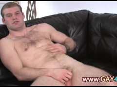 Ultra small cock on the leather couch
