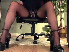 Leggy secretary under desk panty masturbation
