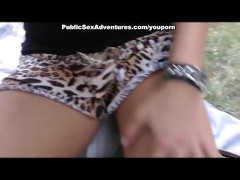 Real outdoor fuck with sexy chick