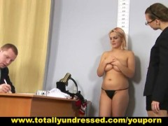 Busty blonde girl passing through humiliating job interview