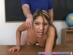 Cute schoolgirl banged by small cock teacher