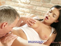Massage Rooms Tanned beauty spreads wet pussy in sensual encounter