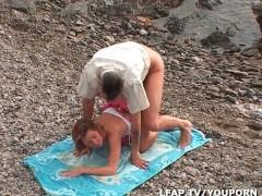 Sodomie entre les rochers pour ce couple amateur francais