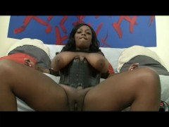Ebony with huge knockers rides a big white dick - Chris Charming