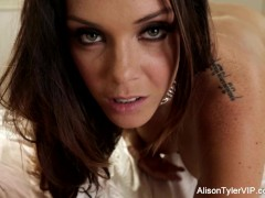 : Big Tittie Alison teases then makes herself cum on the bed